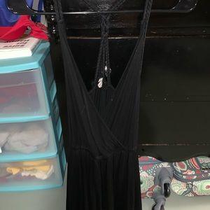 Black, low-cut, braided back romper!